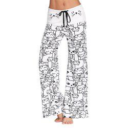 Trendy Mid Waist Cat Print Wide-leg Drawstring Women Long Pants -