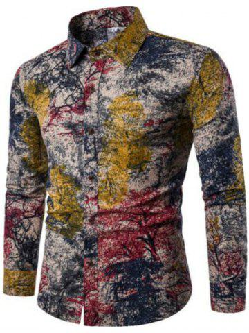 Best New Spring Men'S Long Sleeved Floral Shirt CS05