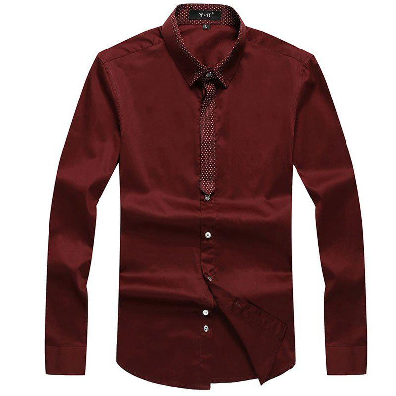 Hot Autumn and Winter Men's Pure Color Leisure Fashion Blouse Professional Dress Shirt