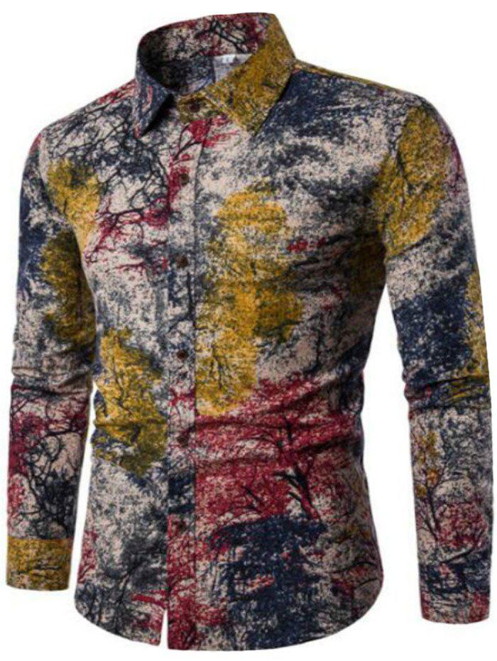 Shop New Spring Men'S Long Sleeved Floral Shirt CS05