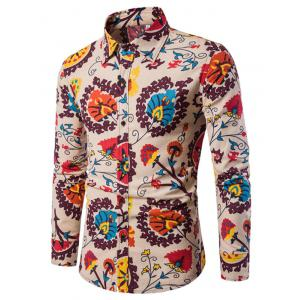 Men'S English Style Long-Sleeve Digital Printed Shirt Plus Sizes -