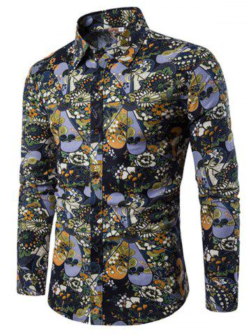 Discount Men'S English Style Long-Sleeve Digital Printed Shirt Plus Sizes