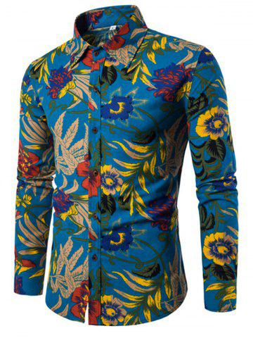 Online Men'S English Style Long-Sleeve Digital Printed Shirt Plus Sizes