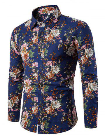 New Men'S English Style Long-Sleeve Digital Printed Shirt Plus Sizes