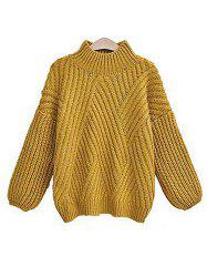 Casual Style Striped Long Sleeved Turtleneck Backing Sweater -