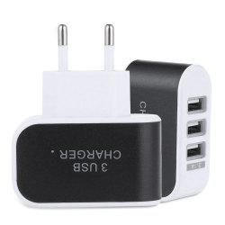 3 USB Ports Coloured Multifunctional 5V 3.1A Universal Travel Charger Adapter -