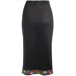 Trendy High Waist Floral Print Slit Zipper Women Pencil Skirt -