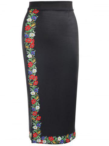Affordable Trendy High Waist Floral Print Slit Zipper Women Pencil Skirt
