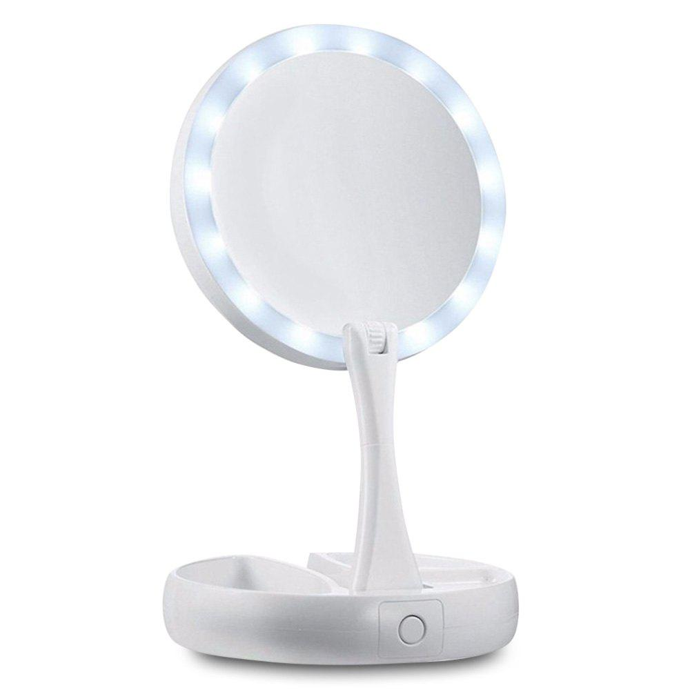 Fashion Adjustable 15 LEDs Lighted Makeup Mirror Foldable Tabletop Lamp Cosmetic Tool