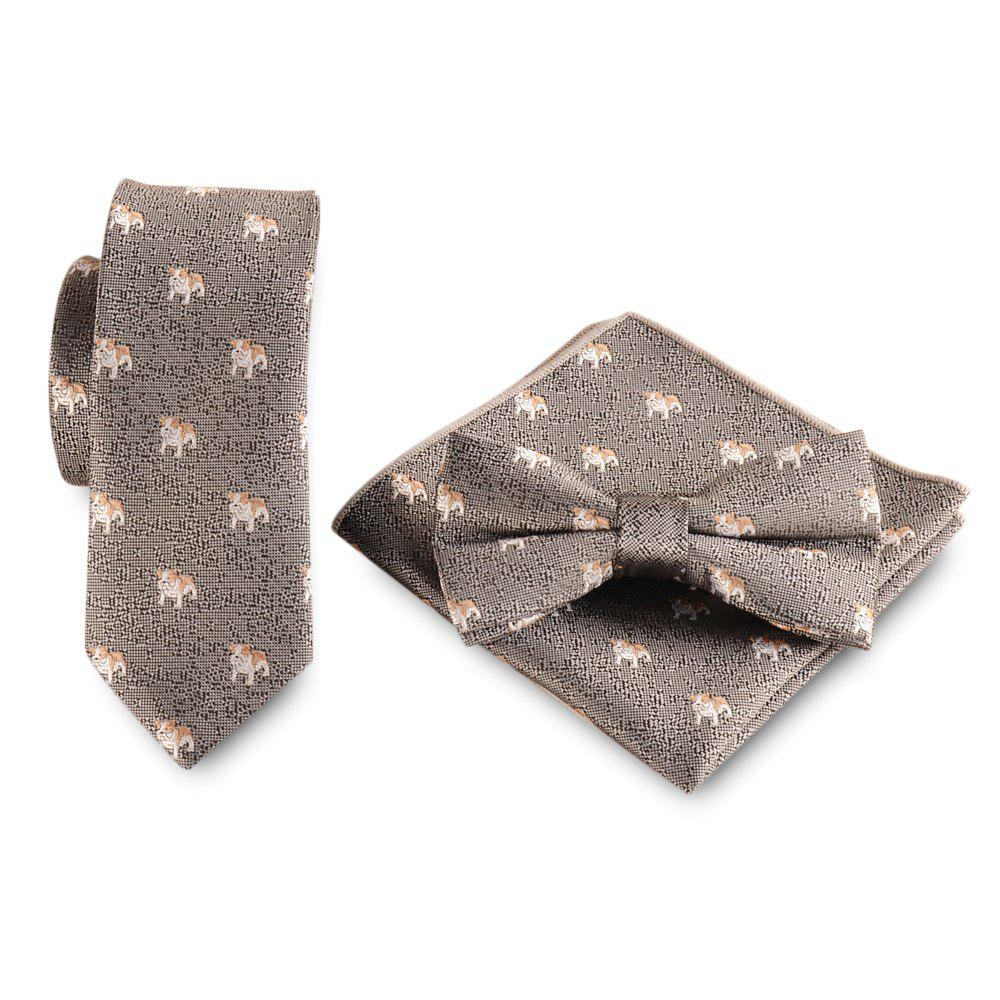 New Casual Polyester Puppy Print Necktie Handkerchief Bow Tie Set for Wedding Party