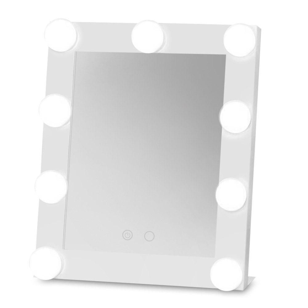Outfit Table Square Single LED Model Portable Makeup Mirror with Bulbs Import Glass