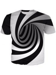 New Men's 3D Swirl Print Short Sleeve T-Shirt -