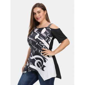 Plus Size Skew Collar Short Sleeve Print T-shirt -