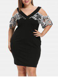 Plus Size Plunge Neck Cold Shoulder Lace Dress -