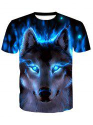Short Sleeve Print Wolf T-Shirt -