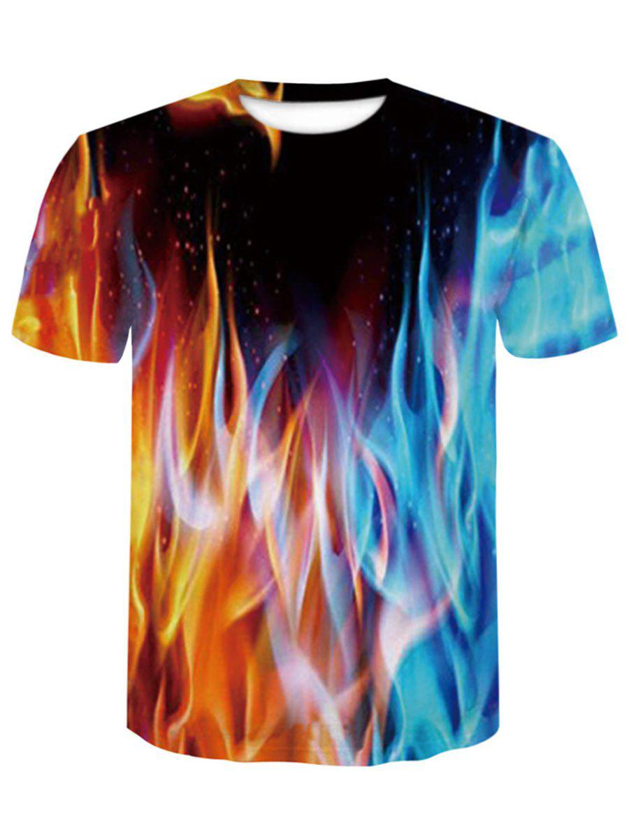 Men's Summer Digital Printing 3D Short Sleeved T-shirts, Multi-a