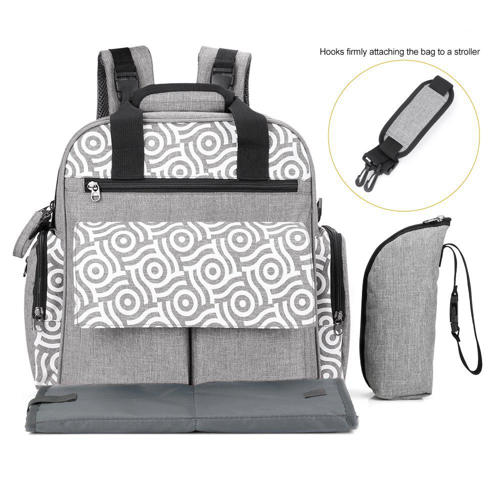 New 010 Diaper Bag Multifunction Backpack Separate Pockets Adjustable Straps