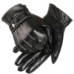 Winter Male PU Leather Short Thick Gloves Men Car Driving Mittens -