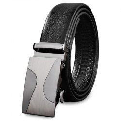 Male Casual Automatic Sliding Alloy Buckle Girdle Leather Belt Strap Waistband -