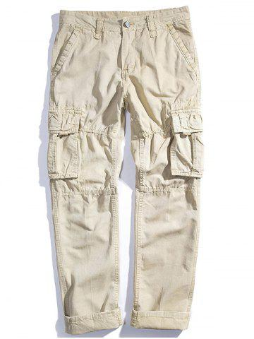 Мужские Loose Cotton Straight Barrel Multi Pocket Casual Wear Pants