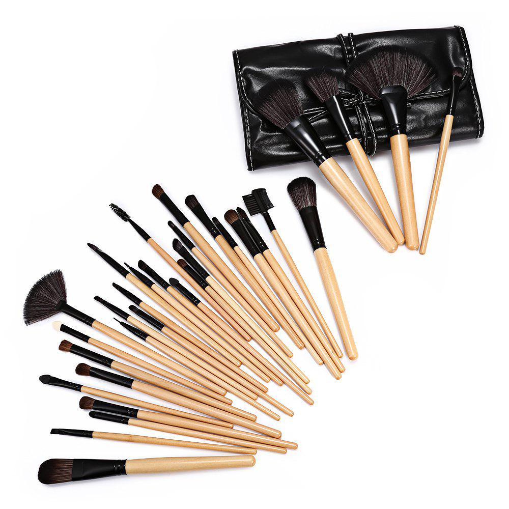 Trendy 32 Pcs Makeup Brush Set with Faux Leather Pure Color Bag