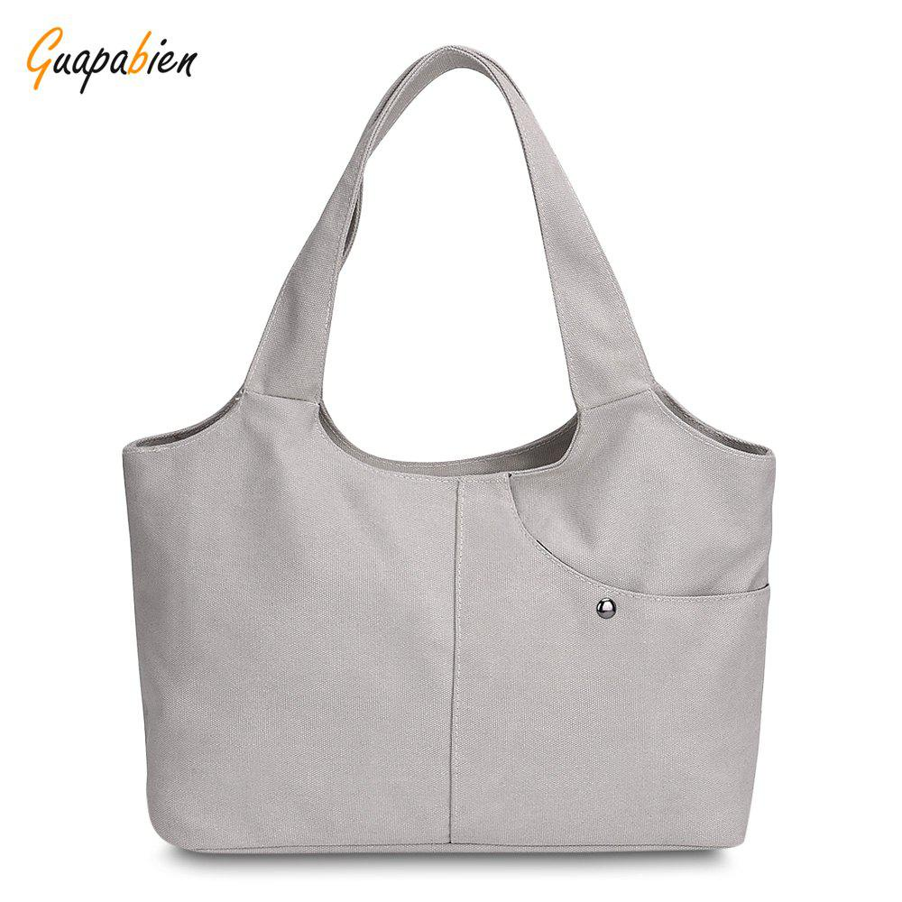 Cheap Guapabien Canvas Handbag Shopping Women Shoulder Female Daily Casual Tote Bag