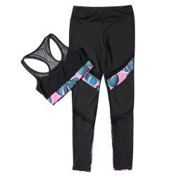 Women Fitted Yoga Sports Mesh Suit Crop Top Long Pant Splice Design Sportswear -