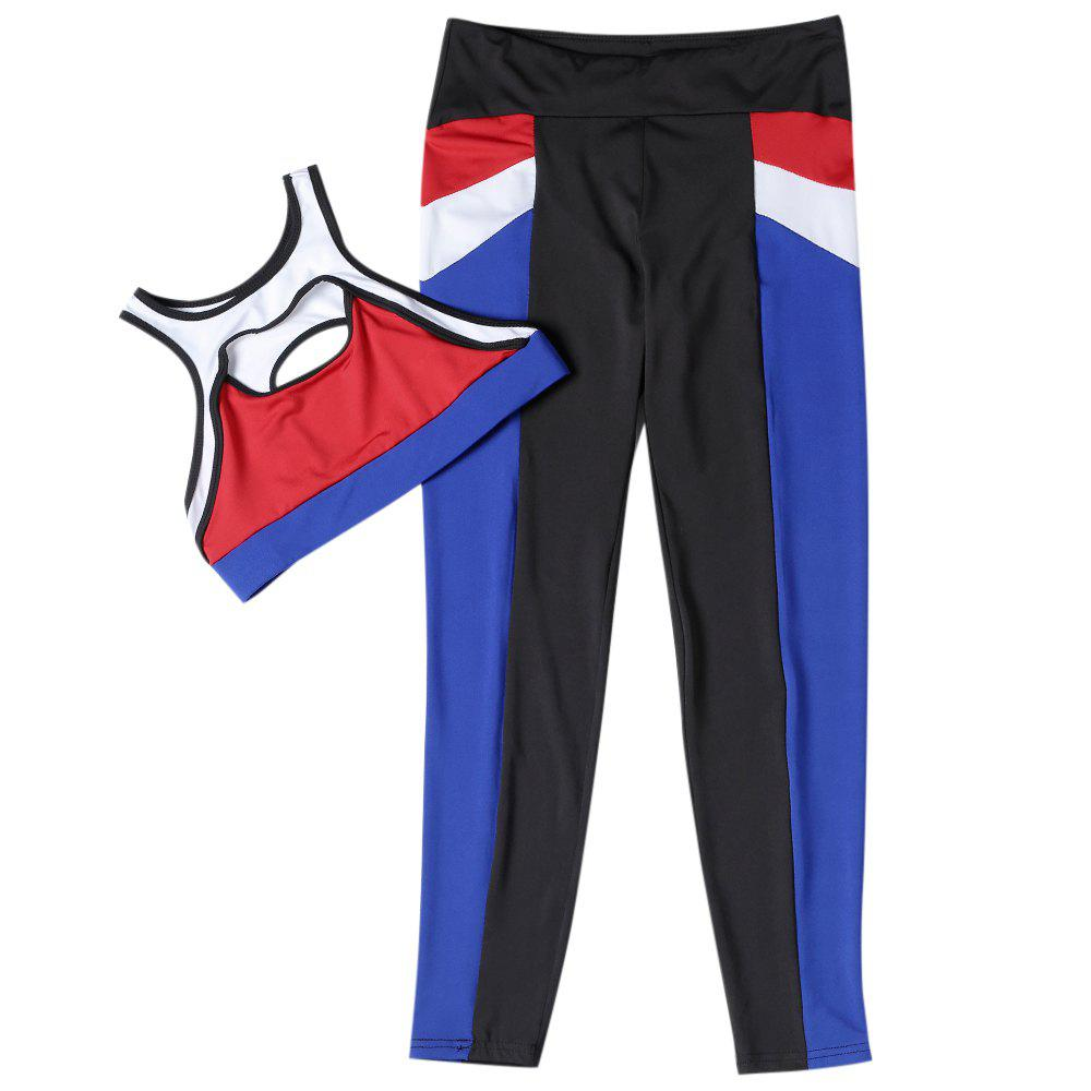 Outfit Women Fitted Yoga Sports Suit Crop Top Long Pant Color Blocking Sportswear