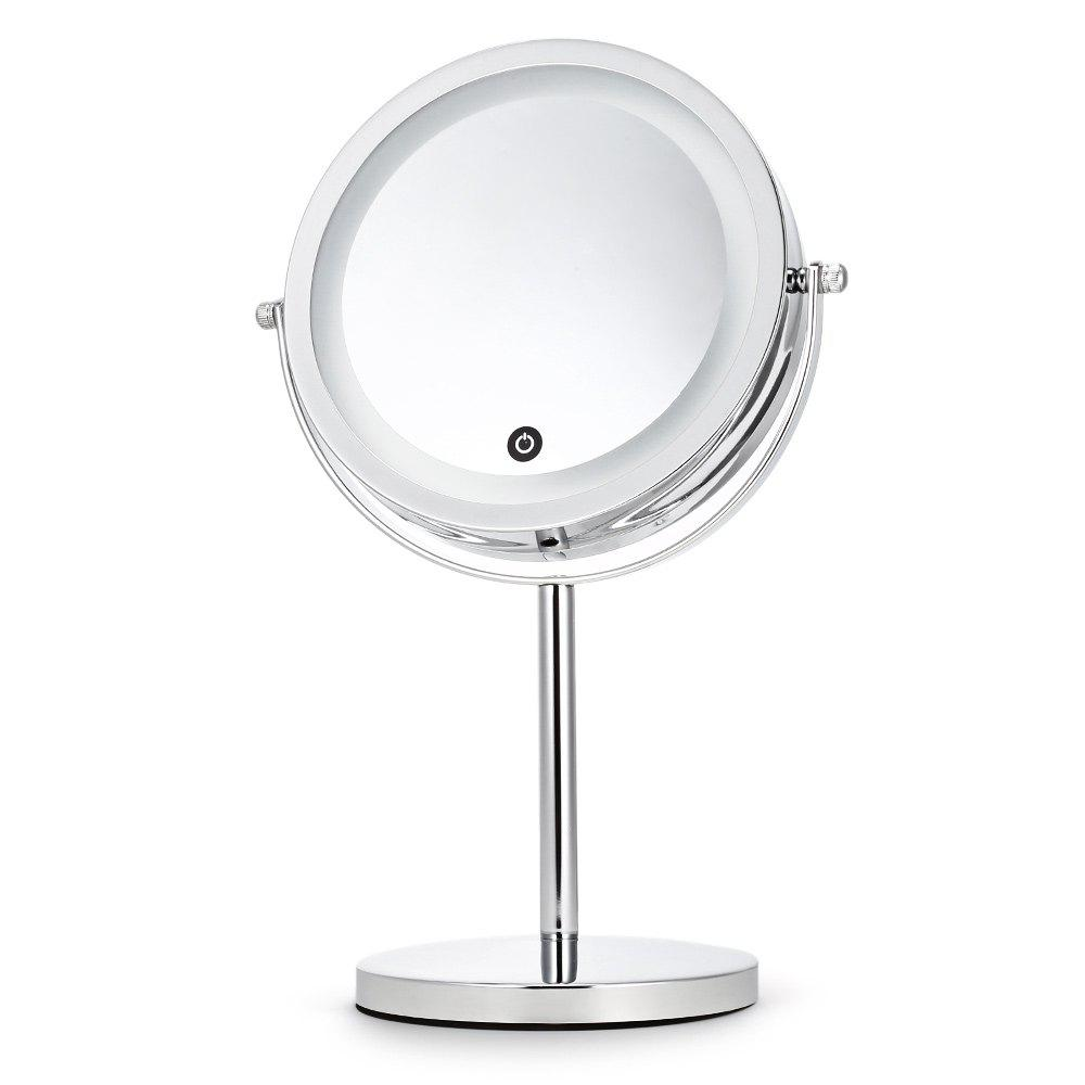 Cheap 5X Magnifying Makeup Cosmetic LED Touch Light Beauty Rotating Countertop Mirror