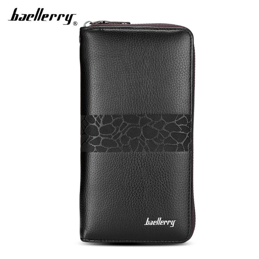 Shops Baellerry PU Leather Men Wallet Coin Pocket Vintage Long Male Money Card Holder