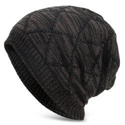 Knitted Wool Cap with Fluff Inside Chaotic Rhombic Pullover Casual Outdoor Hat -