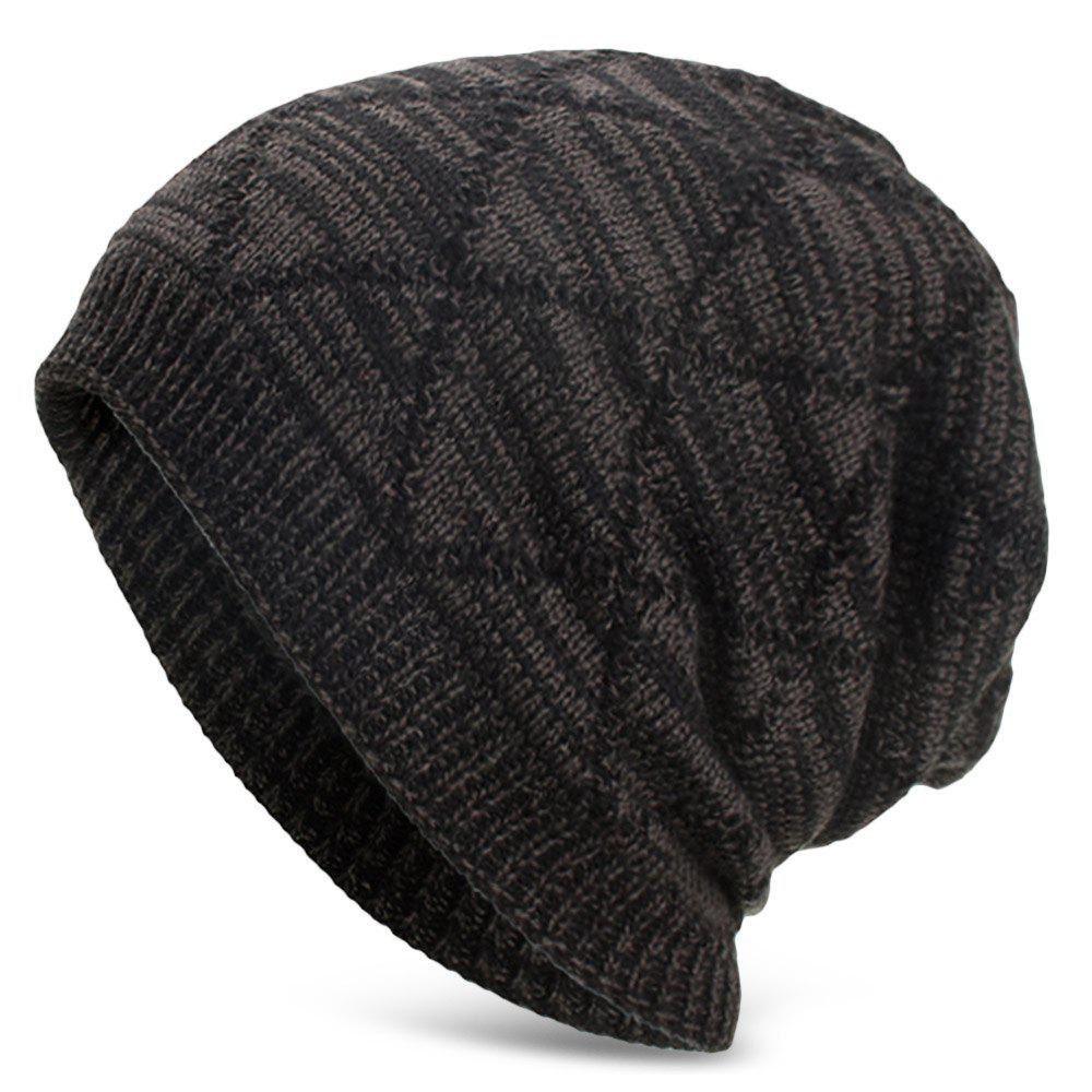 Chic Knitted Wool Cap with Fluff Inside Chaotic Rhombic Pullover Casual Outdoor Hat
