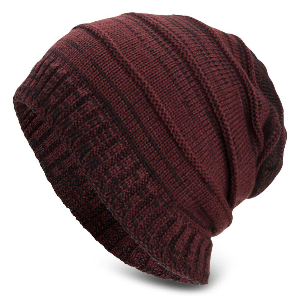 Chic Knitted Wool Cap Fluff Inside Cross Stripe Pullover Casual Outdoor Hat