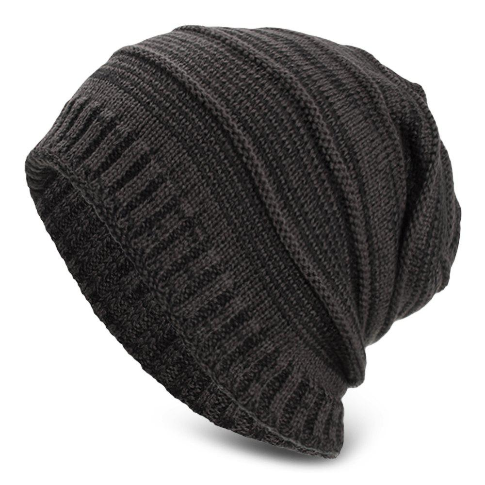 Shop Knitted Wool Cap Fluff Inside Cross Stripe Pullover Casual Outdoor Hat