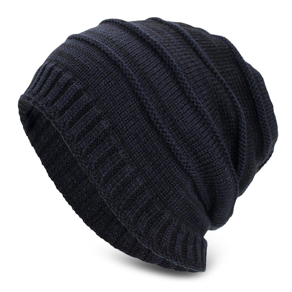 New Knitted Wool Cap Fluff Inside Cross Stripe Pullover Casual Outdoor Hat