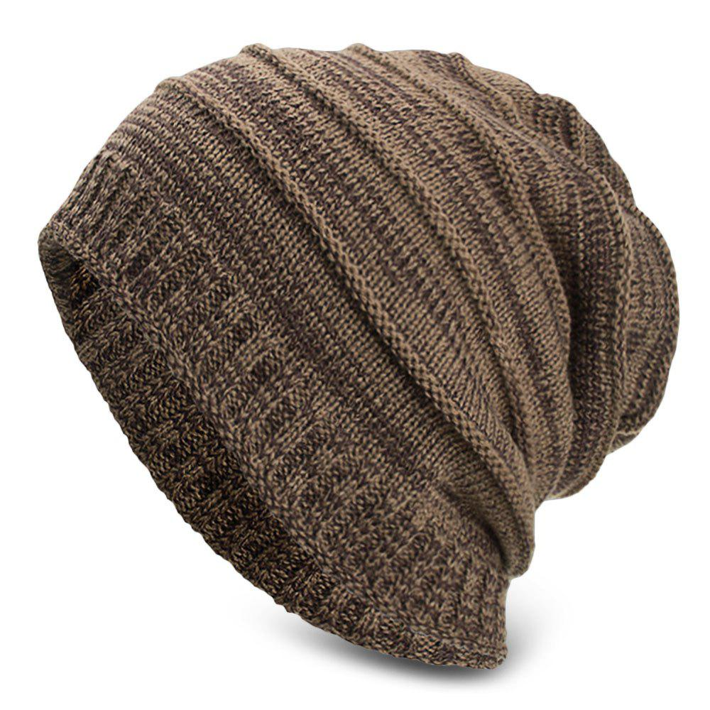 Outfits Knitted Wool Cap Fluff Inside Cross Stripe Pullover Casual Outdoor Hat