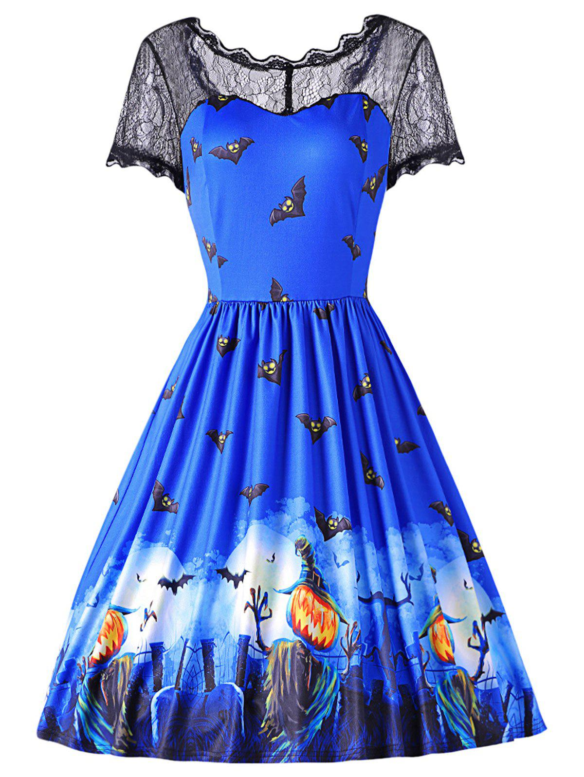 Fashion Round Collar Short Sleeve Spliced Lace Print Halloween Dress