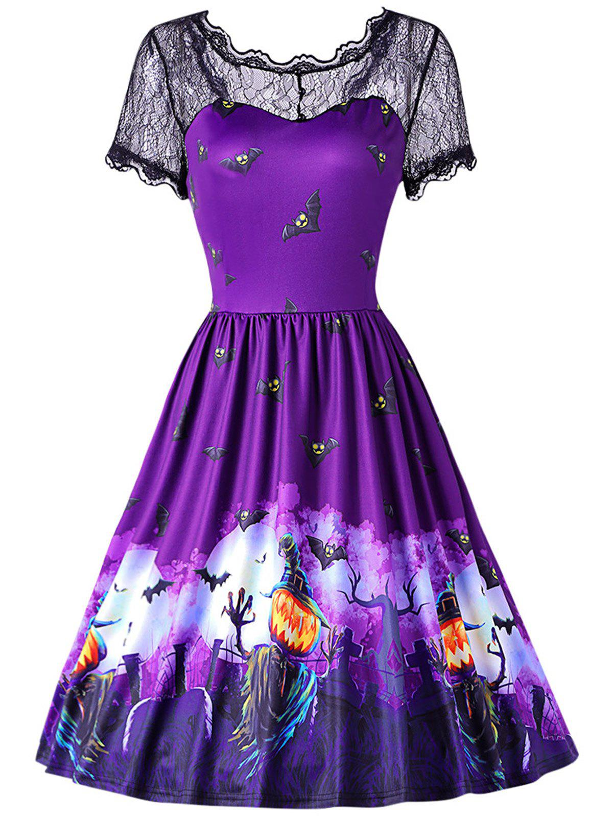 57e2bf1fa5a 35% OFF  Round Collar Short Sleeve Spliced Lace Print Halloween ...