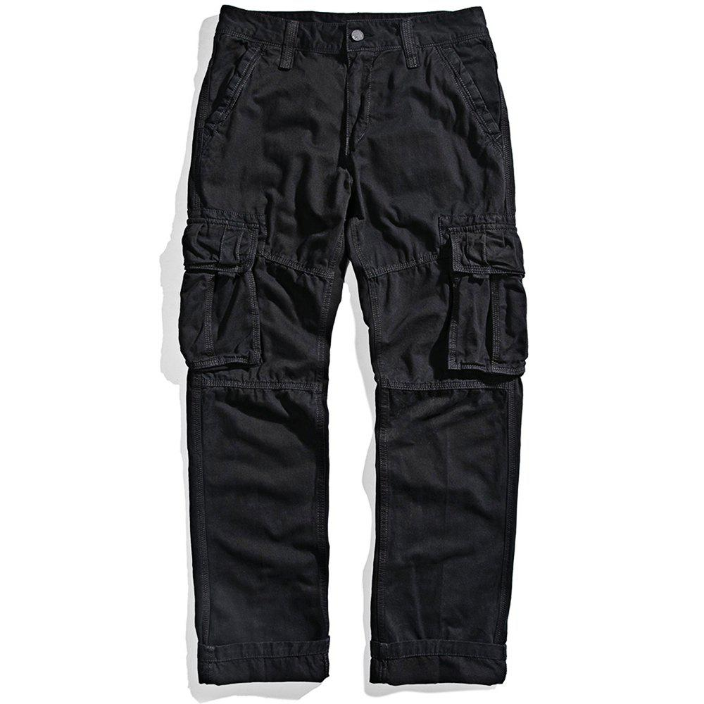 New Men's Loose Cotton Straight Barrel Multi Pocket Casual Wear Pants