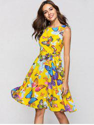 Round Collar Sleeveless Butterfly Print Belted A-line Dress -