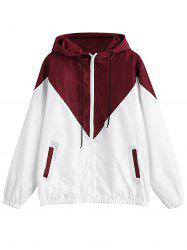 Hooded Long Sleeve Color Blocking Pocket Jacket Plus Size Hoodie -