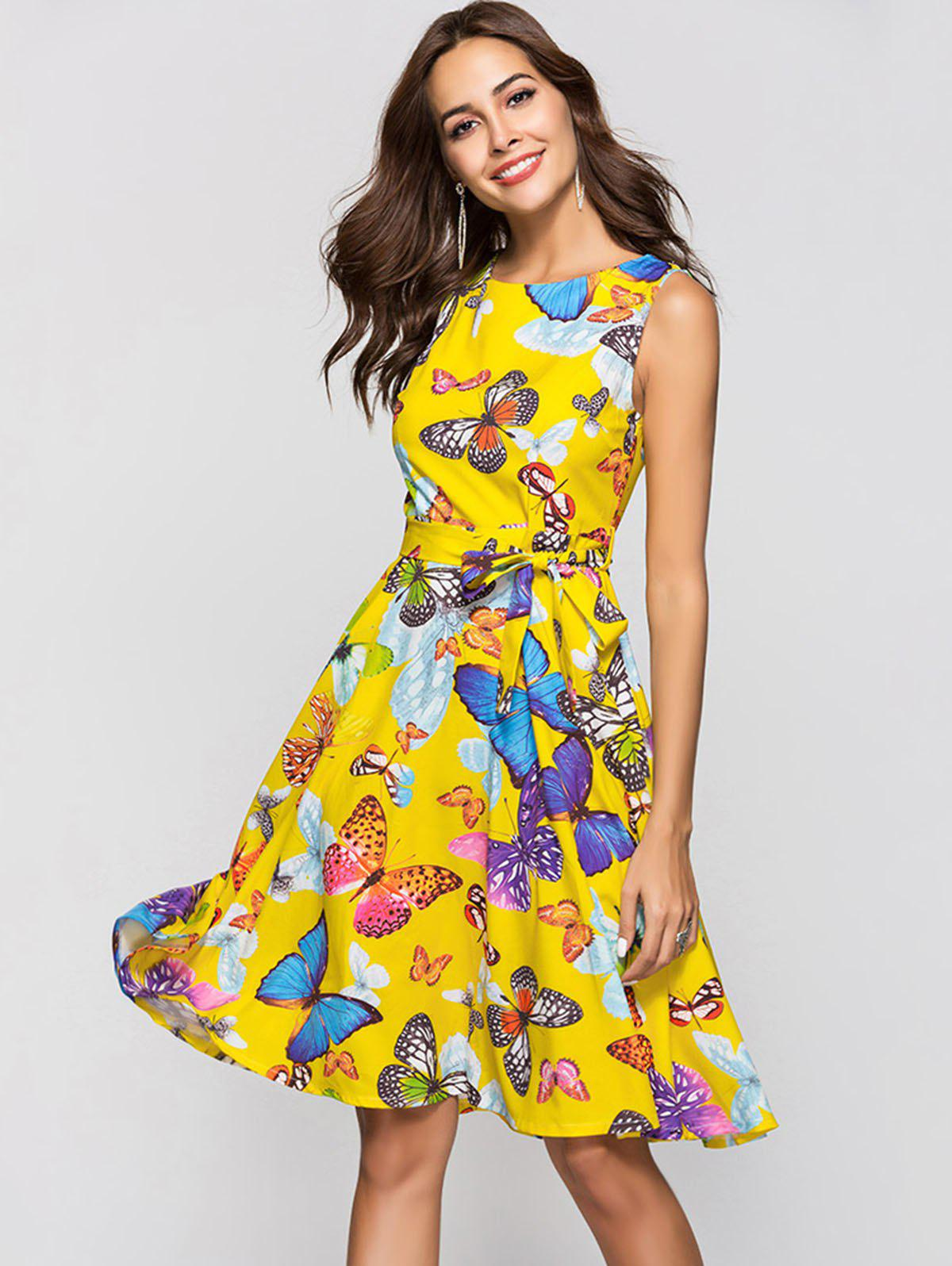 Fashion Round Collar Sleeveless Butterfly Print Belted A-line Dress