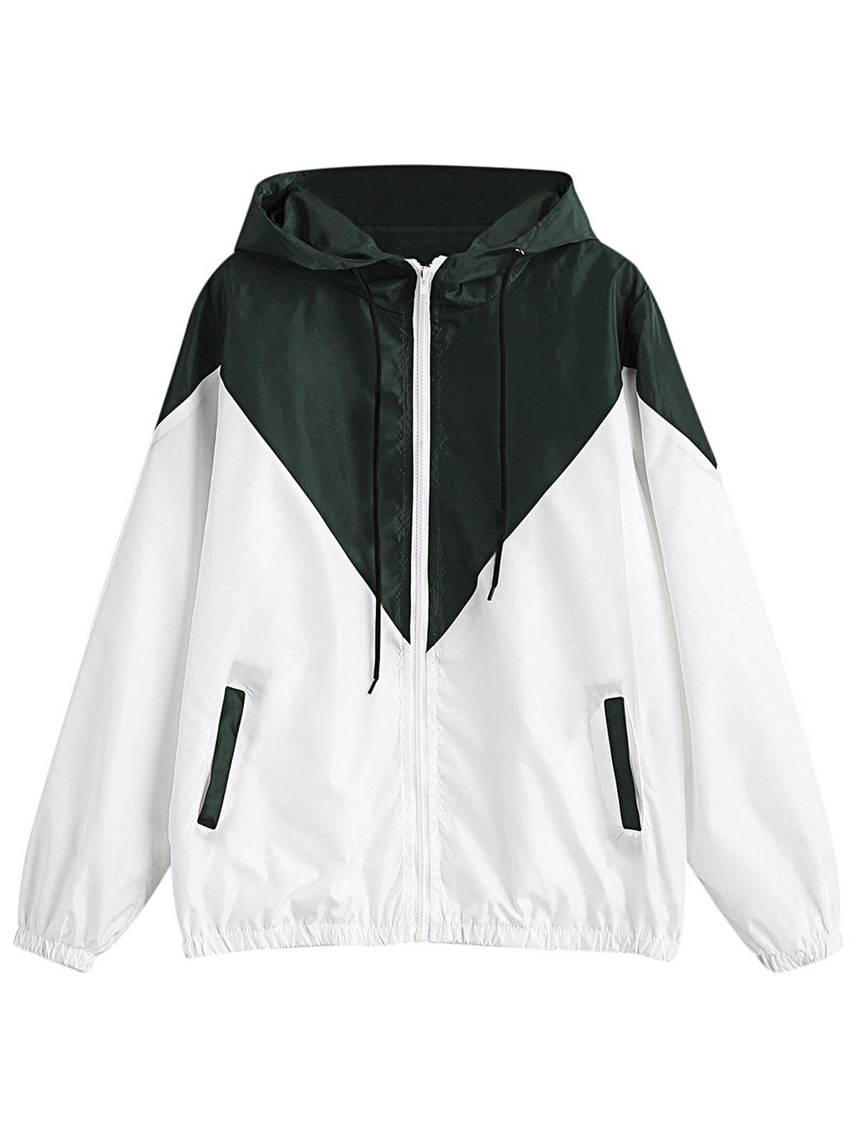 Cheap Hooded Long Sleeve Color Blocking Pocket Jacket Plus Size Hoodie