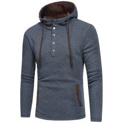 Men's Fashion Button Stitching Hit Color Hooded Long-Sleeved Slim Sweater -