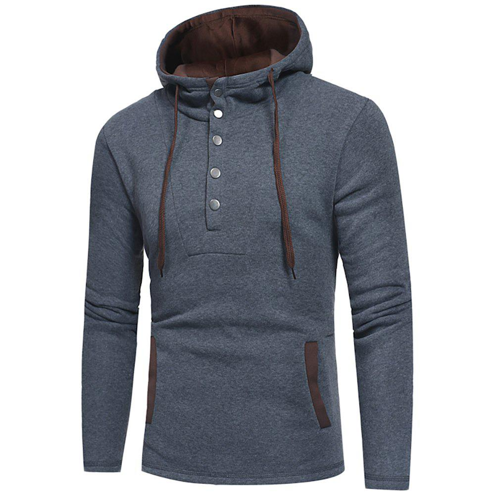Store Men's Fashion Button Stitching Hit Color Hooded Long-Sleeved Slim Sweater