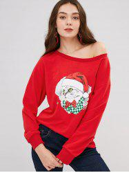 Skew Neck Long Sleeve Christmas Kitten Print Loose Sweatshirt -