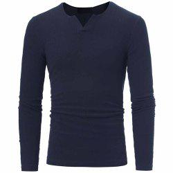 Men's Fashion V-Neck Striped Stretch Knit Casual Slim Long-Sleeved Sweater -