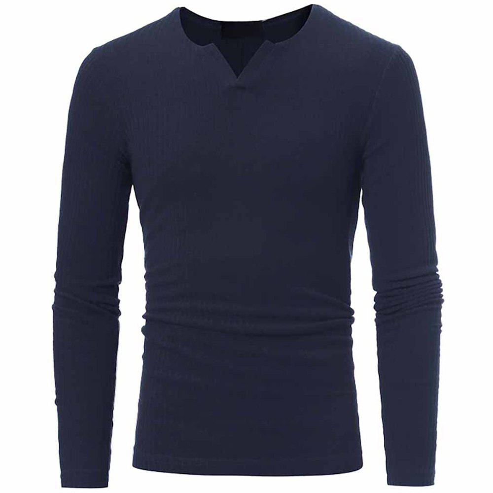Unique Men's Fashion V-Neck Striped Stretch Knit Casual Slim Long-Sleeved Sweater