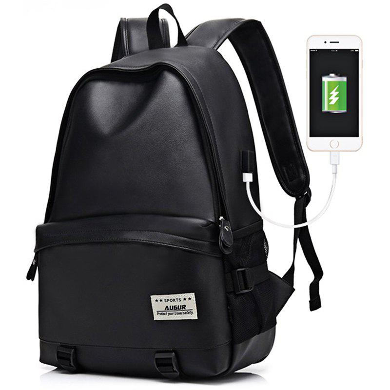 065975e2a3 Best AUGUR Men Backpacks PU Leather USB Charging Travel Waterproof Laptop  Teenager Student School Bag