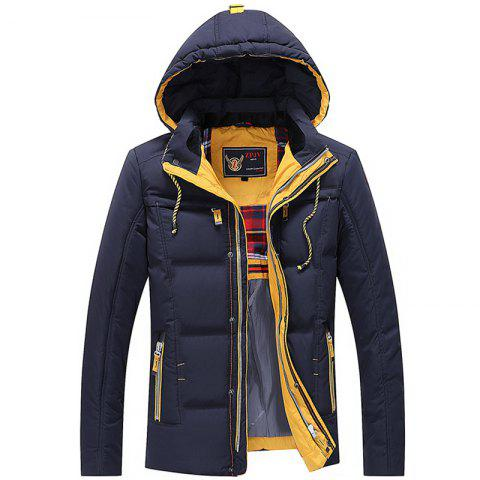 Men Quilted  Solid Color Long Sleeve Trendy Warm Hooded Coat
